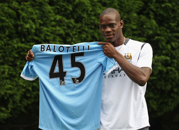 MANCHESTER, ENGLAND - AUGUST 17:  Mario Balotelli of Manchester City faces the media at the Carrington Training Complex on August 17, 2010 in Manchester, England.  (Photo by Alex Livesey/Getty Images)