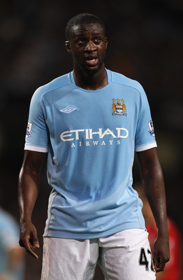 MANCHESTER, ENGLAND - AUGUST 23:  Yaya Toure of Manchester City during the Barclays Premier League match between Manchester City and Liverpool at City of Manchester Stadium on August 23, 2010 in Manchester, England.  (Photo by Alex Livesey/Getty Images)