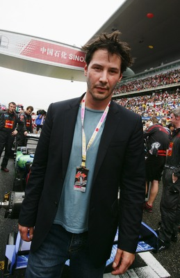 SHANGHAI, CHINA - OCTOBER 07:  Actor Keanu Reeves is seen on the grid before the start of the Chinese Formula One Grand Prix at the Shanghai International Circuit on October 7, 2007 in Shanghai, China.  (Photo by Mark Thompson/Getty Images)