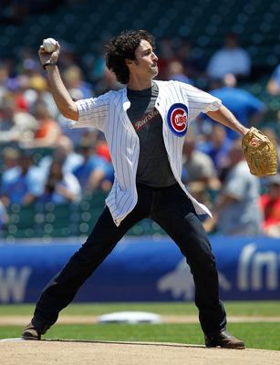 CHICAGO - JUNE 30: Actor Thomas Ian Nicholas throws a ceremonial first pitch before the Chicago Cubs take on the Pittsburgh Pirates at Wrigley Field on June 30, 2010 in Chicago, Illinois. (Photo by Jonathan Daniel/Getty Images)