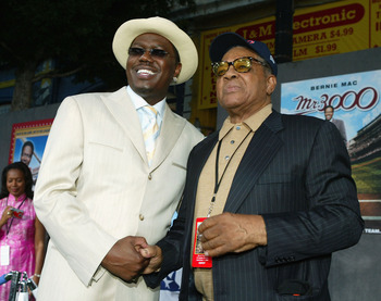 LOS ANGELES - SEPTEMBER 8:  Actor Bernie Mac (L) and former MLB Hall of Famer Willie Mays attend the premiere of Touchstone Pictures' 'Mr. 3000' at the El Capitan Theatre on September 8, 2004 in Los Angeles, California.  (Photo by Kevin Winter/Getty Image