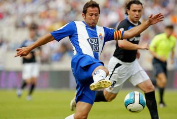 BARCELONA, SPAIN - JUNE 17: Raul Tamudo of Espanyol in action during the La Liga match between Espanyol and Deportivo at the Lluis Companys stadium on June 17, 2007 in Barcelona, Spain. (Photo by Bagu Blanco/Getty Images).