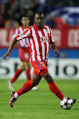 MADRID, SPAIN - NOVEMBER 03:  Florent Sinama-Pongolle of Atletico Madrid in action during Champions League Group D match between Atletico Madrid and Chelsea at the Vicente Calderon Stadium on November 3, 2009 in Madrid, Spain.  (Photo by Shaun Botterill/G