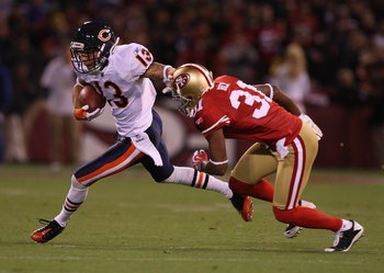 SAN FRANCISCO - NOVEMBER 12:  Johnny Knox #13 of the Chicago Bears in action against the San Francisco 49ers at Candlestick Park on November 12, 2009 in San Francisco, California. The 49ers won 10-6.  (Photo by Jed Jacobsohn/Getty Images)