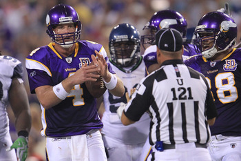 MINNEAPOLIS - AUGUST 28:  Brett Favre #4 of the Minnesota Vikings calls for a timeout against the Seattle Seahawks during a preseason NFL game at Mall of America Field at the Hubert H. Humphrey Metrodome on August 28, 2010  in Minneapolis, Minnesota.  (Ph