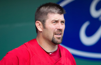 FORT MYERS, FL - MARCH 13:  Catcher Jason Varitek #33 of the Boston Red Sox talks with a reporter just prior to the start of the Grapefruit League Spring Training Game against the Pittsburgh Pirates at City of Palms Park on March 13, 2010 in Fort Myers, F