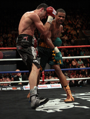 NOTTINGHAM, ENGLAND - OCTOBER 17:  Andre Dirrell attacks Carl Froch during their WBC Super Middleweight fight on October 17, 2009 at Trent FM Arena in Nottingham, England.  (Photo by John Gichigi/Getty Images)