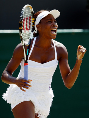 LONDON, ENGLAND - JUNE 28:  Venus Williams of USA celebrates match point during her match against Jarmila Groth of Australia on Day Seven of the Wimbledon Lawn Tennis Championships at the All England Lawn Tennis and Croquet Club on June 28, 2010 in London
