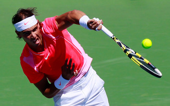 CINCINNATI - AUGUST 18:  Rafael Nadal of Spain serves to Taylor Dent during Day 3 of the Western &amp; Southern Financial Group Masters at the Lindner Family Tennis Center on August 18, 2010 in Cincinnati, Ohio.  (Photo by Kevin C. Cox/Getty Images)