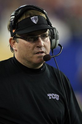 GLENDALE, AZ - JANUARY 04:  Head coach Gary Patterson of the TCU Horned Frogs looks on against the Boise State Broncos during the Tostitos Fiesta Bowl at the Universtity of Phoenix Stadium on January 4, 2010 in Glendale, Arizona.  (Photo by Jed Jacobsohn/