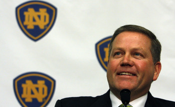 SOUTH BEND, IN - DECEMBER 11: Brian Kelly attends a press conference where he was named new football head coach at Notre Dame University on December 11, 2009 in South Bend, Indiana.  Kelly most recently led the University of Cincinnati to two consecutive