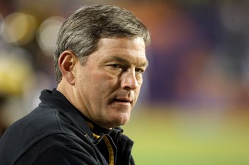 MIAMI GARDENS, FL - JANUARY 05:  Head coach Kirk Ferentz of the Iowa Hawkeyes looks on during warm ups against the Georgia Tech Yellow Jackets during the FedEx Orange Bowl at Land Shark Stadium on January 5, 2010 in Miami Gardens, Florida. Iowa won 24-14.
