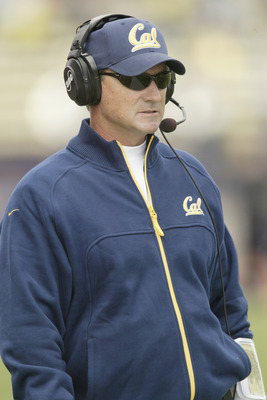 SEATTLE - SEPTEMBER 10:  Head coach Jeff Tedford of the University of California Golden Bears watches the game against the University of Washington Huskies on September 10, 2005 at Husky Stadium in Seattle Washington. The Golden Bears won 56-17. (Photo by