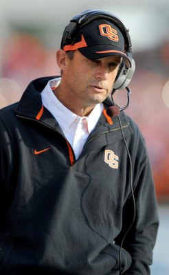 CORVALLIS, OR - OCTOBER 10: Head coach Mike Riley of the Oregon State Beavers looks out at the action on the field in the third quarter of the game against the Stanford Cardinals at Reser Stadium on October 10, 2009 in Corvallis, Oregon. Oregon State won