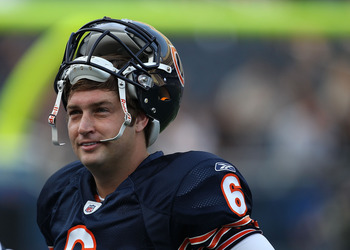 CHICAGO - AUGUST 21: Jay Cutler #6 of the Chicago Bears smiles during warm-ups before a preseason game against the Oakland Raiders at Soldier Field on August 21, 2010 in Chicago, Illinois.  (Photo by Jonathan Daniel/Getty Images)