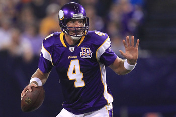 MINNEAPOLIS - AUGUST 28:  Brett Favre #4 of the Minnesota Vikings looks to pass against the Seattle Seahawks during a preseason NFL game at Mall of America Field at the Hubert H. Humphrey Metrodome on August 28, 2010  in Minneapolis, Minnesota.  (Photo by