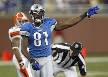 DETROIT - AUGUST 28: Calvin Johnson #81 of the Detroit Lions signals a first down after a second quarter catch during a preseason game against the Cleveland Browns on August 28, 2010 at Ford Field in Detroit, Michigan.  (Photo by Gregory Shamus/Getty Imag