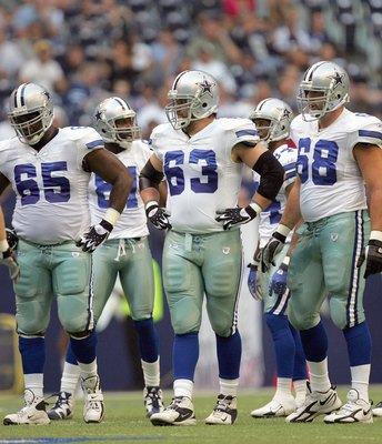 IRVING, TX - AUGUST 9:  Andre Gurode #65 ,Kyle Kosier #63 and Doug Free #68 of the Dallas Cowboys walk to the line during the preseason game against the Indianapolis Colts at Texas Stadium on August 9, 2007 in Irving, Texas. (Photo by Ronald Martinez/Gett