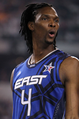 ARLINGTON, TX - FEBRUARY 14:  Chris Bosh #4 of the Eastern Conference reacts during the first half of the NBA All-Star Game, part of 2010 NBA All-Star Weekend at Cowboys Stadium on February 14, 2010 in Arlington, Texas. NOTE TO USER: User expressly acknow