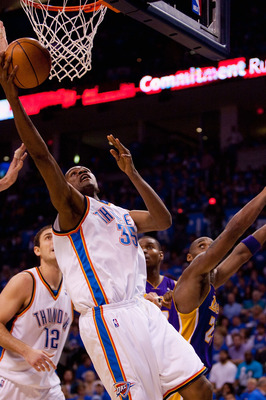 OKLAHOMA CITY - APRIL 22: Kevin Durant #35 of the Oklahoma City Thunder shoots the ball against the Los Angeles Lakers during Game Three of the Western Conference Quarterfinals of the 2010 NBA Playoffs on April 22, 2010 at the Ford Center in Oklahoma City