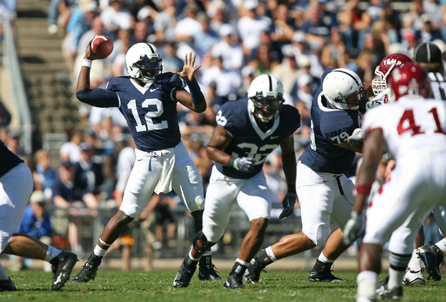 STATE COLLEGE, PA - SEPTEMBER 19: Quarterback Kevin Newsome #12 of the Penn State Nittany Lions throws a pass during a game against the Temple Owls on September 19, 2009 at Beaver Stadium in State College, Pennsylvania. (Photo by Hunter Martin/Getty Image