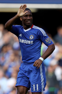 LONDON, ENGLAND - AUGUST 28:  Didier Drogba of Chelsea celebrates after scoring his team's second goal from the penalty spot during the Barclays Premier League match between Chelsea and Stoke City at Stamford Bridge on August 28, 2010 in London, England.