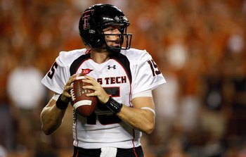 AUSTIN, TX - SEPTEMBER 19:  Quarterback Taylor Potts #15 of the Texas Tech Red Raiders drops back to pass against the Texas Longhorns at Darrell K Royal-Texas Memorial Stadium on September 19, 2009 in Austin, Texas.  (Photo by Ronald Martinez/Getty Images