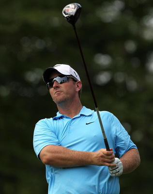 VERONA, NY - AUGUST 05:  David Duval hits his tee shot on the 7th hole during round one at the Turning Stone Resort Championship at Atunyote Golf Club held on August 5, 2010 in Verona, New York.  (Photo by Nick Laham/Getty Images)