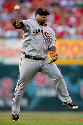 ST. LOUIS - AUGUST 21: Pablo Sandoval #48 of the San Francisco Giants throws to first base against the St. Louis Cardinals at Busch Stadium on August 21, 2010 in St. Louis, Missouri.  (Photo by Dilip Vishwanat/Getty Images)