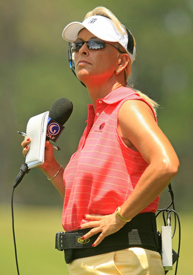 PONTE VEDRA BEACH, FL - MAY 09:  Dottie Pepper, on course announcer for the Golf Channel, watches play during the second round of THE PLAYERS Championship on THE PLAYERS Stadium Course at TPC Sawgrass on May 9, 2008 in Ponte Vedra Beach, Florida.  (Photo