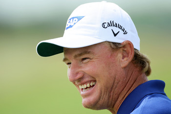 KOHLER, WI - AUGUST 11:  Ernie Els of South Africa smiles while on the practice range during a practice round prior to the start of the 92nd PGA Championship on the Straits Course at Whistling Straits on August 11, 2010 in Kohler, Wisconsin.  (Photo by An