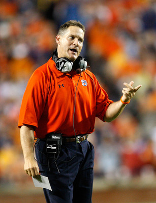 AUBURN, AL - SEPTEMBER 19:  Head coach Gene Chizik of the Auburn Tigers looks on during the game against the West Virginia Mountaineers at Jordan-Hare Stadium on September 19, 2009 in Auburn, Alabama.  (Photo by Kevin C. Cox/Getty Images)
