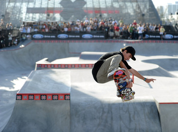 LOS ANGELES, CA - AUGUST 01:  Pedro Barros of Brazil competes to a gold medal in the Skateboard Park Final during X Games 16 at the Event Deck LA Live on August 1, 2010 in Los Angeles, California.  (Photo by Harry How/Getty Images)