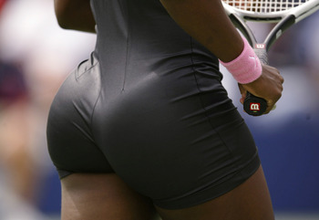 FLUSHING, NY - AUGUST 28: Detail, Serena Williams in action against Dinara Safina of Russia during the US Open on August 28, 2002 at the USTA National Tennis Center in Flushing Meadows Corona Park in Flushing, New York.  (Photo by Gary M. Prior/Getty Imag