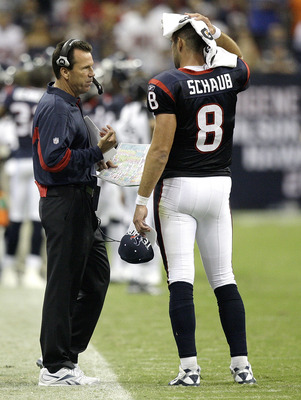 HOUSTON - AUGUST 28: Head coach Gary Kubiak of the Houston Texans talks with quarterback Matt Schaub #8 in the second half during a football game against the Dallas Cowboys at Reliant Stadium on August 28, 2010 in Houston, Texas. (Photo by Bob Levey/Getty