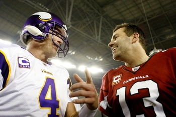 GLENDALE, AZ - DECEMBER 6: Quarterback Brett Favre #4 of the Minnesota Vikings greets quarterback Kurt Warner #13 of the Arizona Cardinals after the game at University of Phoenix Stadium on December 6, 2009 in Glendale, Arizona. The Cardinals won 30-17.
