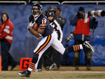 CHICAGO - DECEMBER 28: Devin Aromashodu #19 of the Chicago Bears catches the game-winning touchdown pass against the Minnesota Vikings at Soldier Field on December 28, 2009 in Chicago, Illinois. The Bears defeated the Vikings 36-30 in overtime. (Photo by