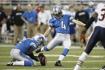 DETROIT - JANUARY 3:  Jason Hanson #4 of the Detroit Lions kicks during the game against the Chicago Bears on January 3, 2010 at Ford Field in Detroit, Michigan. (Photo by Gregory Shamus/Getty Images)