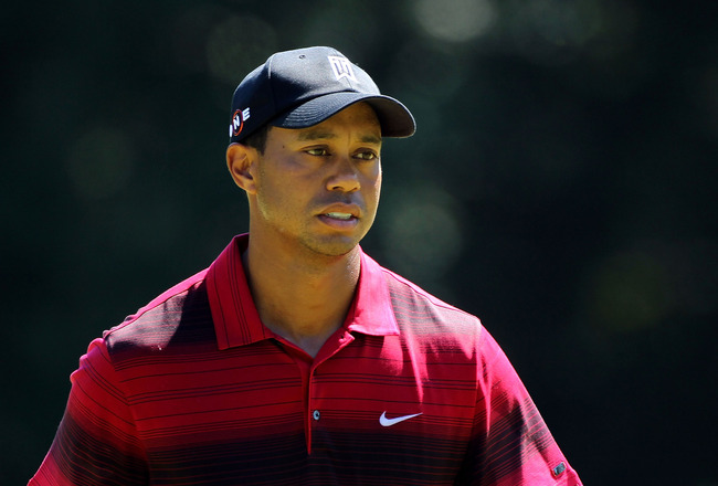 PARAMUS, NJ - AUGUST 29:  Tiger Woods looks on from the fourth green during the final round of The Barclays at the Ridgewood Country Club on August 29, 2010 in Paramus, New Jersey.  (Photo by Hunter Martin/Getty Images)