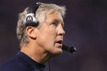 MINNEAPOLIS - AUGUST 28:  Head coach Pete Carroll of the Seattle Seahawks watches on against the Minnesota Vikings during a preseason NFL game at Mall of America Field at the Hubert H. Humphrey Metrodome on August 28, 2010  in Minneapolis, Minnesota.  (Ph