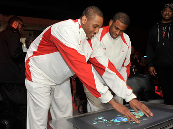 DALLAS - FEBRUARY 13: NBA players Carmelo Anthony (L) and Chris Paul attend the 23/25 Energy Space presented by Jordan Brand in Dallas, Texas on Februrary 13, 2010. (Photo by Charley Gallay/Getty Images for Jordan Brand)