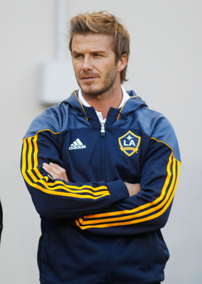 HARRISON, NJ - AUGUST 14:  David Beckham #23 of the Los Angeles Galaxy looks on during warm-ups prior to their match against the New York Red Bulls on August 14, 2010 at Red Bull Arena in Harrison, New Jersey. Galaxy defeat the Red Bulls 1-0.  (Photo by M