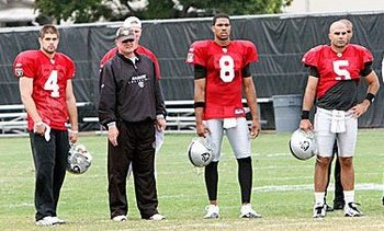 Raiders' quarterbacks observe and learn.