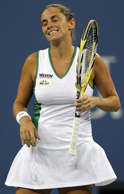 NEW YORK - AUGUST 30:  Roberta Vinci of Italy reacts after a point played against Venus Williams of the United States during the Women's Singles first round match on day one of the 2010 U.S. Open at the USTA Billie Jean King National Tennis Center on Augu