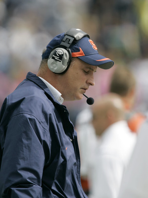 STATE COLLEGE, PA - SEPTEMBER 12: Head coach Doug Marrone of the Syracuse Orangemen reacts on the sideline as he watches the final minutes of their game against the Penn State Nittany Lions at Beaver Stadium  September 12, 2009 in State College, Pennsylva