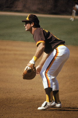CHICAGO - 1983:  Steve Garvey #6 of the San Diego Padres readies for the play during a 1983 season game against the Chicago Cubs at Wrigley Field in Chicago, Illinois. (Photo by Jonathan Daniel/Getty Images)