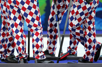 VANCOUVER, BC - FEBRUARY 20:  A detail of the pants of members of the team from Norway during the curling round robin game against Denmark on day 9 of the Vancouver 2010 Winter Olympics at Vancouver Olympic Centre on February 20, 2010 in Vancouver, Canada