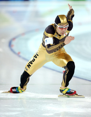 VANCOUVER, BC - FEBRUARY 15:  Joji Kato of Japan competes in the men's 500 m speed skating held at the Richmond Olympic Oval on day 4 of the Vancouver 2010 Winter Olympics at Richmond Olympic Oval on February 15, 2010 in Vancouver, Canada.  (Photo by Jasp
