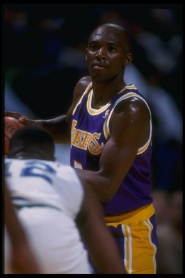 17 Dec 1992:  Guard Sedale Threatt of the Los Angeles Lakers looks on during a game. Mandatory Credit: Layne Murdoch  /Allsport Mandatory Credit: Layne Murdoch  /Allsport