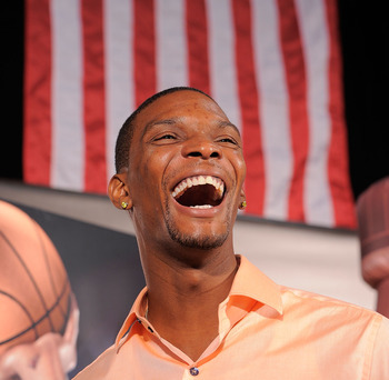 NEW YORK - AUGUST 11:  Gold Medalist Chris Bosh launchs the Refuel America Program and unveils the newest Milk Mustache ads at the 92nd Street Y on August 11, 2010 in New York City.  Gold medalists Chris Bosh, Apolo Anton Ohno and Shawn Johnson teamed up